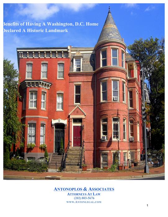 Benefits of Having A Washington D.C. Home Declared A Historic Landmark
