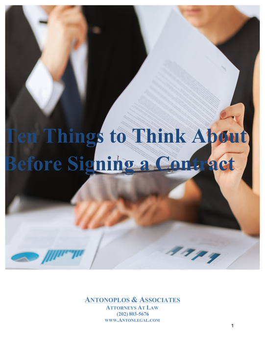 Ten Things to Think About Before Signing a Contract